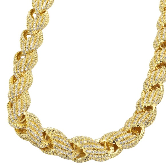 43793b16eff78 Mens Fully Iced Out 14k Gold Diamond Rope Chain Boutique